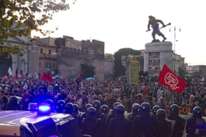 Italian people rally against cuts to public services occupying the Porta Pia with tents and banners