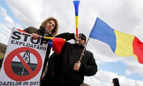Activists protesting against Chevron's plan to drill for shale gas in Pungesti, Romania