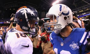 Denver Broncos' Peyton Manning congratulates Indianapolis Colts' Andrew Luck