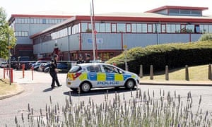 Police at the software company where Pavlo Lapshyn did work experience in Small Heath, Birmingham