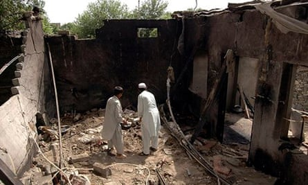Pakistan house destroyed by drone missile
