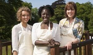 Great British Bake Off finalists Ruby Tandoh, Kimberley Wilson and Frances Quinn