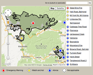 The NSW RFS incident map (screengrabbed at 930am 22 October) shows where the two Blue Mountains fires have been linked together by firefighters overnight.