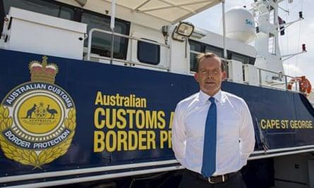 Tony Abbott unveils a vessel to combat immigrants arriving by boat at Larrakeyah Barracks in Darwin