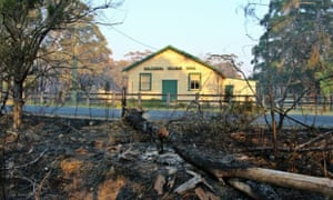 Balmoral Village Hall. The aftermath of the Southern Highlands fire in NSW.