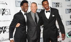 Mahat M Ali, Tom Hanks, Faysal Ahmed at Captain Phillips premiere