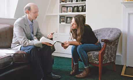 The personal touch: English student Flora has a one-to-one tutorial with Dr Peter Maber.