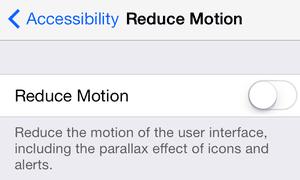 iOS 7 reduce motion option