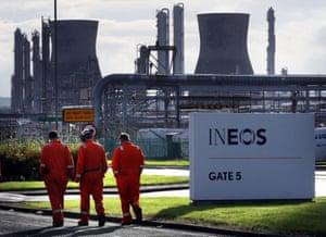 The Grangemouth oil refinery in Falkirk, Scotland.