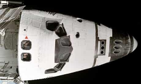 Hadfield on the space shuttle Atlantis in November 1995