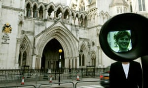 Sky News reporter Jayne Secker on camera at the Royal Courts of Justice
