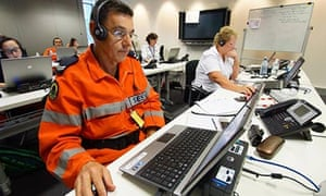 NSW SES volunteers man the phones of the Bushfire Information Line for the NSW Rural Fire Service