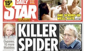 Daily Star front - killer spider made my leg explode Killer spider made my leg explode