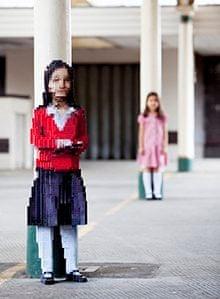 Maya: a pixelated sculture of a schoolgirl by Luke Jerram