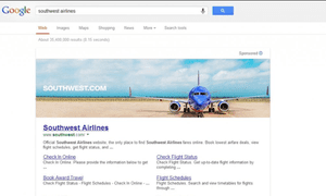 Google banner ad for SouthWest Airline