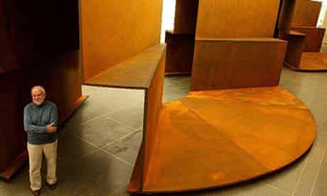 Sir Anthony Caro with his sculpture Millbank Steps 2004 at Tate Britain