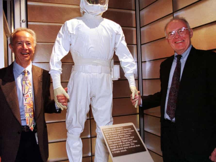 Gordon Moore (right) of Moore's law fame, at opening of  museum at Intel headquarters, Santa Clara, 1999.