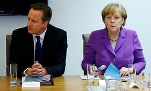 British prime minister David Cameron and German chancellor Angela Merkel at a meeting in Brussels