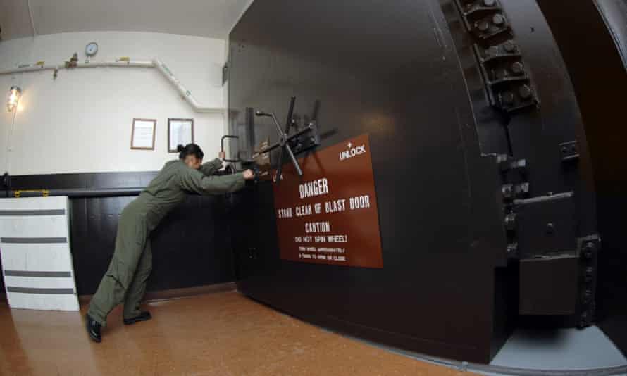 Nuclear blast door being closed