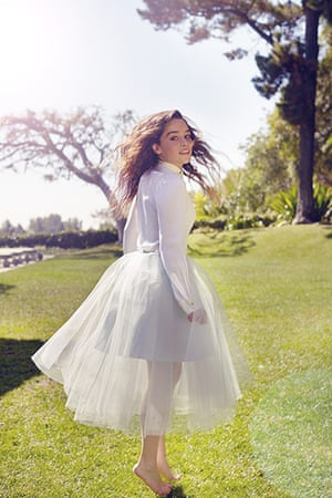 Emilia Clarke: white silk top