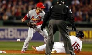 St. Louis Cardinals Pete Kozma vs Boston Red Sox' Dustin Pedroia