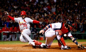 Pete Kozma of the St. Louis Cardinals and Jarrod Saltalamacchia of the Boston Red Sox, Game Two