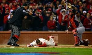 St. Louis Cardinals' Allen Craig scores the winning run vs Boston Red Sox, Game Three