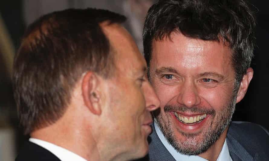 Psst .... Tony Abbott speaks to Denmark's Crown Prince Frederik in Sydney.