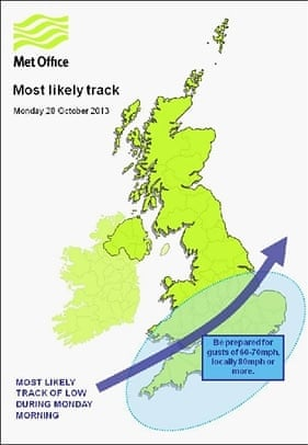 The storm's most likely track