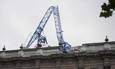 A collapsed crane on the roof of the Cabinet Office on Whitehall, central London