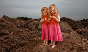 Big Pic - Red Hair: two girls with red hair and pink dresses in dirt landscape