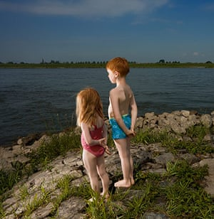 Big Pic - Red Hair: boy and girl with red hair looking out to river