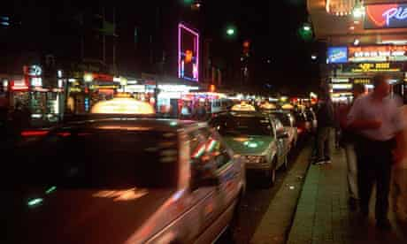 Taxis queuing at night at Kings Cross, Sydney