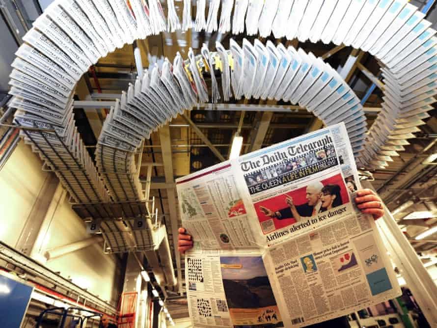 The Daily Telegraph newspaper printing press in Hertfordshire, UK.