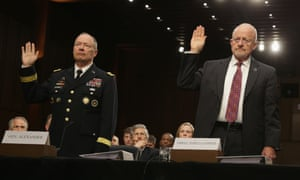 National Security Agency director General Keith Alexander and director of national intelligence James Clapper at a Senate hearing in September 2013.