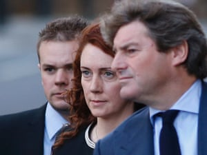 Former News of the World editor Rebekah Brooks with her husband Charlie Brooks, arrive at the Old Bailey in London continuing the trial on phone hacking charges. Photograph: Lefteris Pitarakis/AP