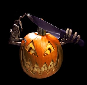Pumpkin carving: A horror charcter carved out of a pumpkin