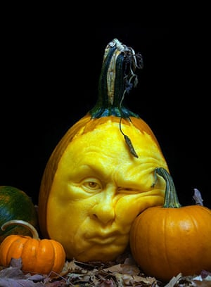 Pumpkin carving: A face carved out of a pumpkin