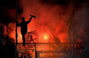 A photo from the Bundesliga 2 match between VfL Bochum and Kaiserslautern looks more like a shot from the midst of a revolution than a football match.