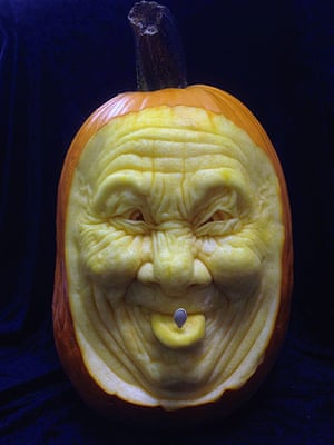 Halloween pumpkin: A funny face carved out of a pumpkin