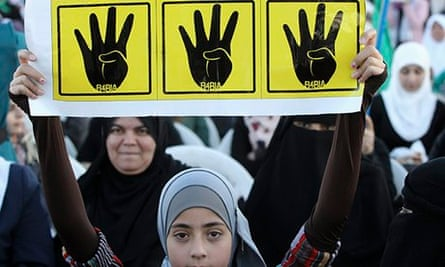 The yellow Rabaa sign of Egypt's opposition