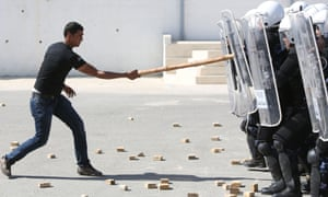Palestinian police take part in riot police training in the West Bank city of Ramallah.