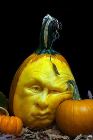 Feeling squashed: A face carved out of a pumpkin by professional sculptor Ray Villafane and his team in Bellaire, Michigan. See more of the horrifying results in the gallery here.