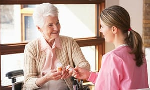 Older woman and care worker