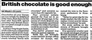 Guardian article on Maastricht and EU choclate,2000