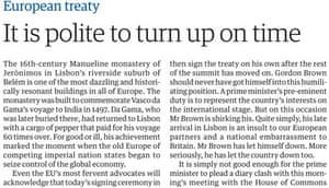 Guardian Maastricht Lisbon treaties, leader on Brown, 2007