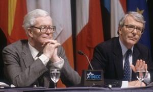 Douglas Hurd and John Major at Maastricht Summit Conference 1991
