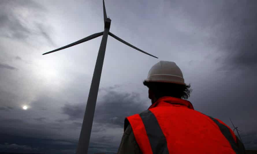A turbine at a windfarm north of Canberra.