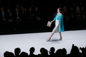 A model displays a creation by Russian fashion brand Laroom during Moscow Fashion Week in Moscow, Russia.