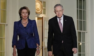 Nancy Pelosi and Harry Reid leave the West Wing of the White House after congressional leaders met Barack Obama.
